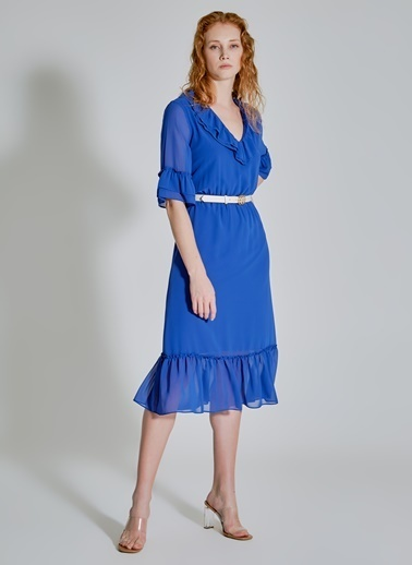 People By Fabrika Volan Detaylı Şifon Elbise Mavi